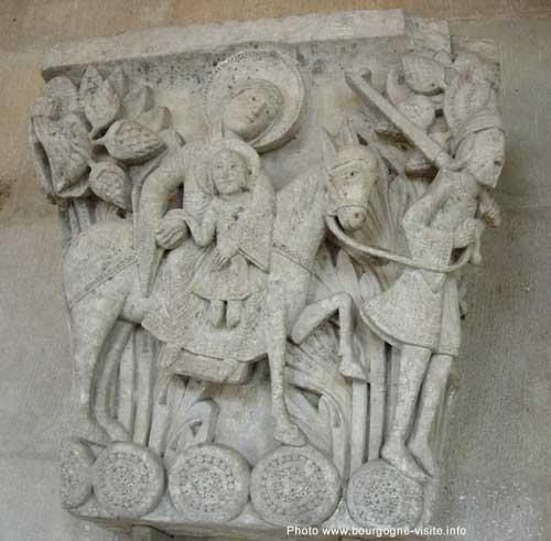 La fuite en Egypte, salle capitulaire, chapiteau, cathédrale Saint Lazare d'Autun