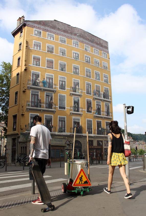 Mur peint des lyonnais célèbres, quai de Saône, Lyon 1er (croisement rue de la Martinière, quai Saint-Vincent)