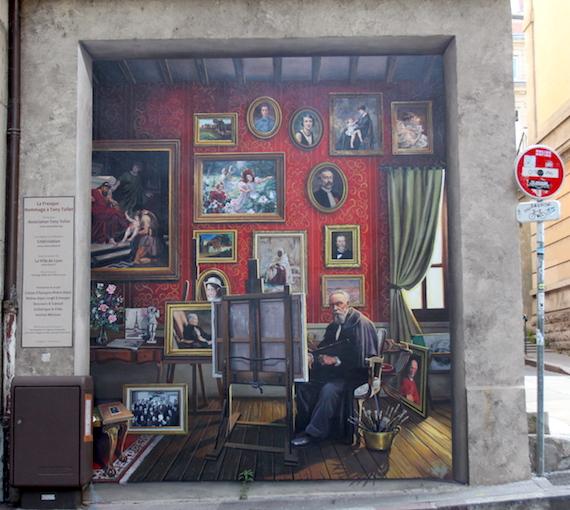 Mur peint fresque hommage au peintre Tony Tollet