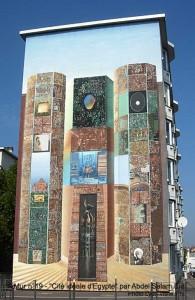 Murs peints musée Tony Garnier, Cité idéale d'Egypte par Abdel Salam Eïd, mur n°19 - Photo Lyon-visite.info