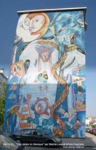 Murs peints musée Tony Garnier, Cité idéale du Mexique par Marisa Lara et Arturo Guerrero, mur n°21 - Lyon-visite.info