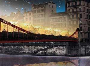 Fête des lumières 2010 - Parapluies sur la Passerelle Saint-Vincent - Dessin d'artiste extrait du dossier de presse
