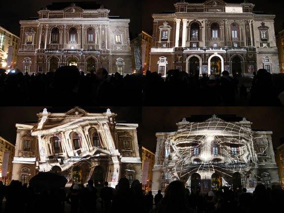 Montage de 4 photos prises durant l'animation projetée sur la façade du théâtre des Célestins