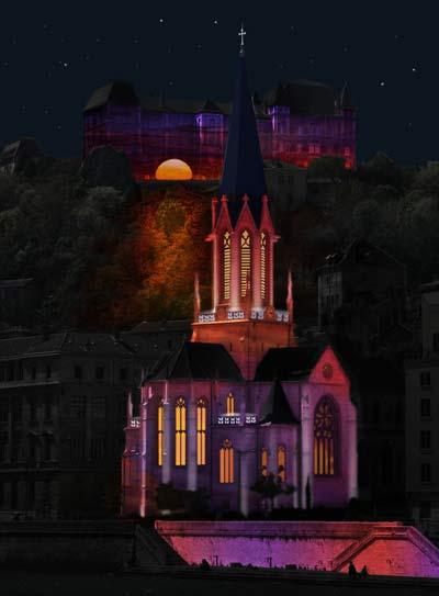 A la rencontre du rayon vert - Chevet de l'Eglise Saint Georges et lycée Saint Just - Jean-Luc Hervé / Les Orpailleurs de lumière