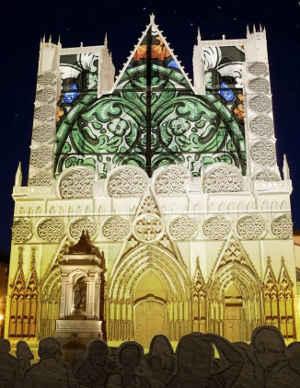 Fête des lumières Lyon 2012 - Vue d'artiste des illuminations de la cathédrale Saint Jean