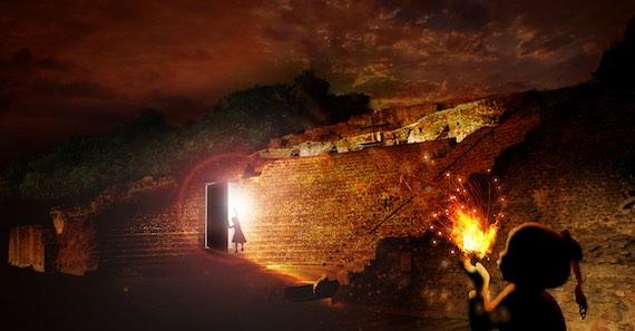 Incandescens (simulation), amphithéâtre de Fourvière, réalisation Direction de l'éclairage