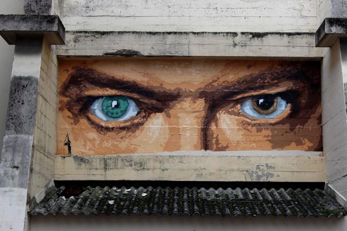 Les yeux de Bowie par Big Ben, rue Neyret, Lyon