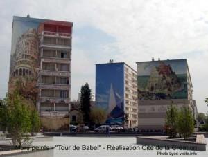 """Murs peints """"Tour de Babel"""", Nicolas de Crécy, Bruegel, réalisation Cité de la Création"""