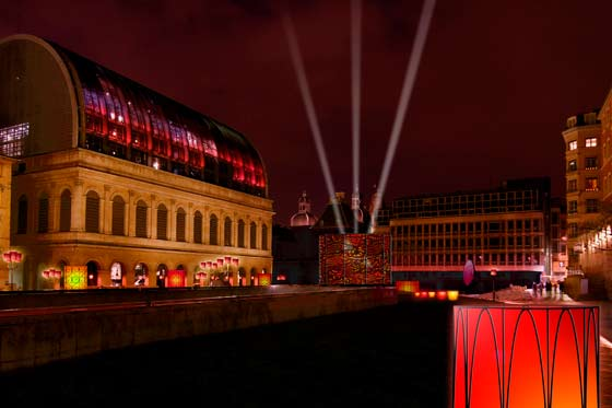 Fêted es lumières 2010 - L'étincelle ou l'odyssée des lumignons - Opéra et Place Pradel, Yves Moreaux et Jean Reydellet
