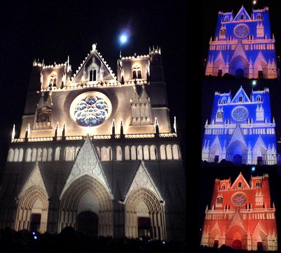 Fête des lumières Lyon - Cathédrale Saint-Jean mise en lumière par Daniel Knipper