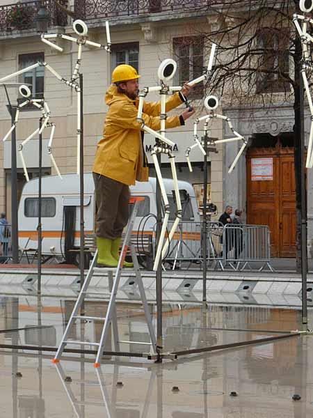 Fête des lumières, Lyon, 8 décembre 2011, Place de la République - Derniers préparatifs