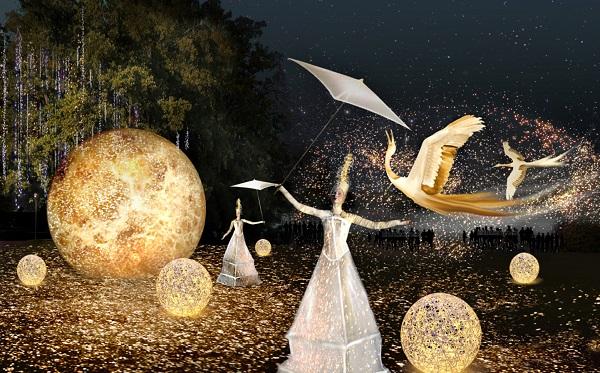 Parc de la tête d'Or, création Marie-Jeanne Gauthé et Géraud Périole, fête des lumières 2018 (simulation artistique)