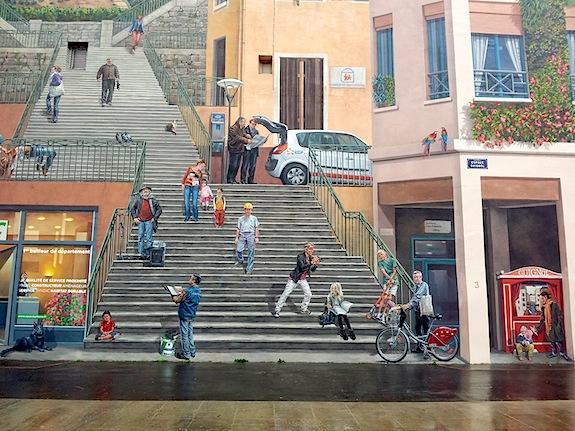 Visite Lyon : Mur peint des canuts (extrait) avec la plaque Habitat et humanisme