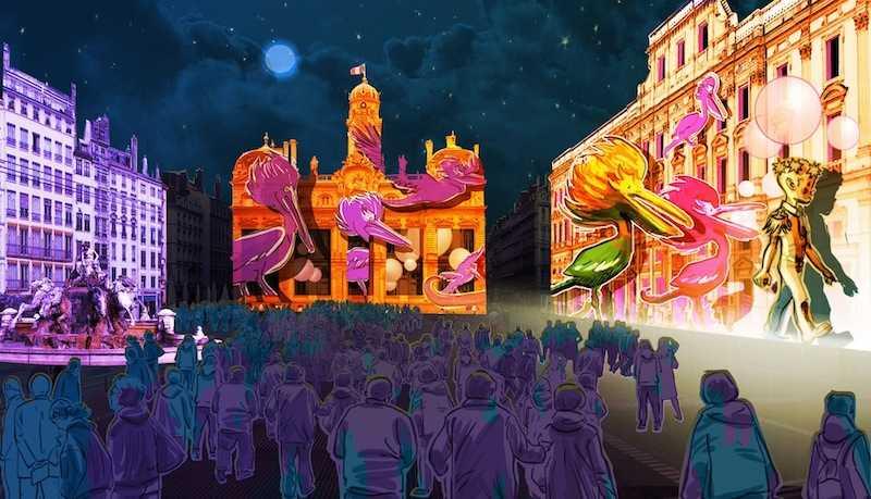 Vue d'artiste de l'animation - Le Prince des Lumières Damien Fontaine - Fête des Lumières 2013 © Ville de Lyon