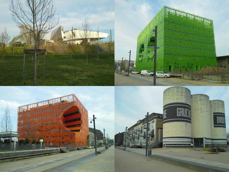 Confluence, la Sucrière, le cube vert, le cube orange et le musée des confluences