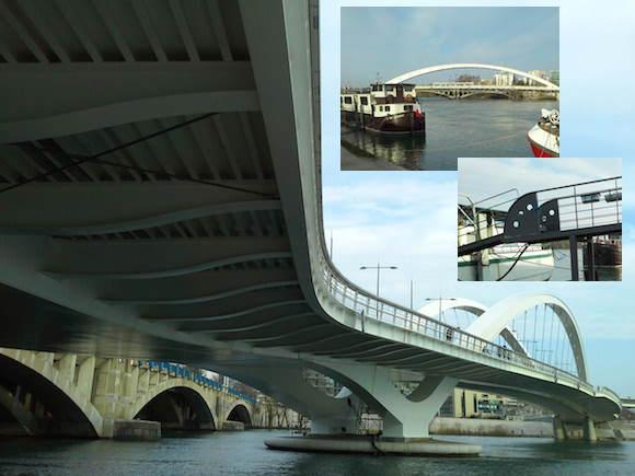 Pont Raymond Barre sur le Rhône en face de Musée des Confluences à Lyon