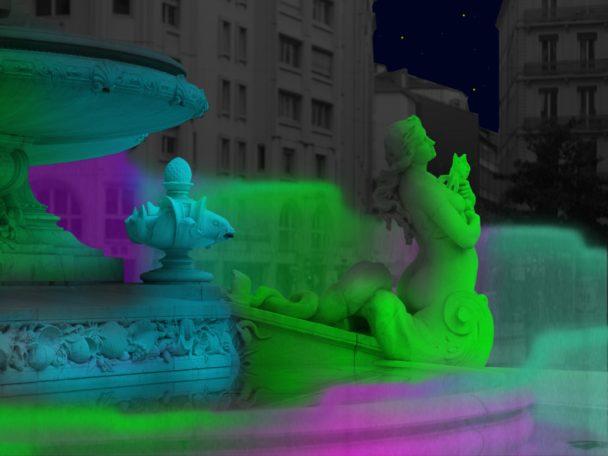 Fontaine des Jacobins, Lyon, animation fête des lumières 2018 de David Udovtsch (simulation)
