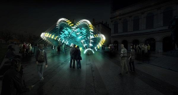 Fête des lumières 2018, Place Louis Pradel, « Abyss », Nicolas Paolozzi