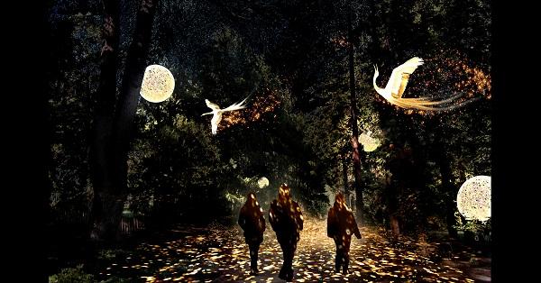 Fête des lumières Lyon 2018, Parc de la Tête d'Or, « Présages », Marie-Jeanne Gauthé et Géraud Périole (simulation)