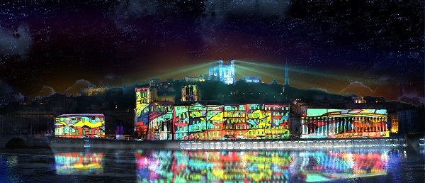 Fête des lumières Lyon 2018, colline de Fourvière depuis les quais de Saône, « Reflets » par Damien Fontaine
