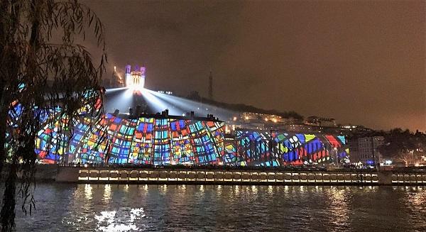 Colline de Fourvière et Vieux Lyon pendant la fête des lumières 2018