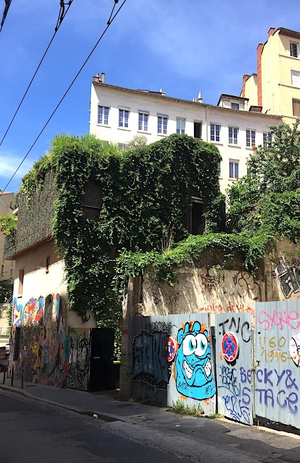 Maison taguée de l'angle rue Pouteau et Diderot, côté végétation