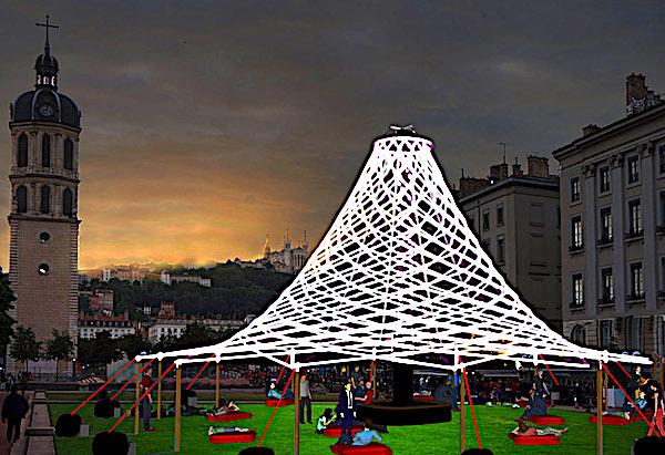 Pavillon, (c) Sébastien Lefèvre, place Antonin Poncet — Simulation d'artiste