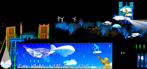 Colline de Fourvière depuis les berges de Saône,Les cueilleurs de nuages (c) CozTen —Simulation d'artiste