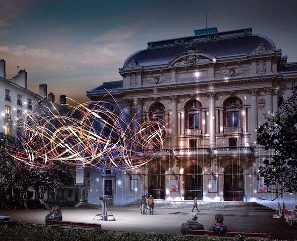 Place des Célestins, Jérôme Donna de la Direction de l'Éclairage de la ville de Lyon — Simulation d'artiste