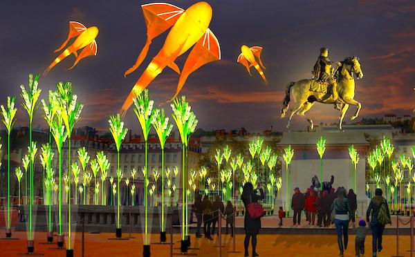 Prairie éphémère, place Bellecour, (c) TILT et Porté par le vent — Simulation d'artiste
