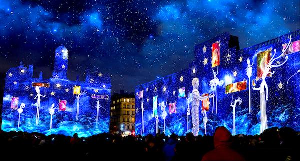 Fête des lumières 2019, place des Terreaux, simulation d'artiste